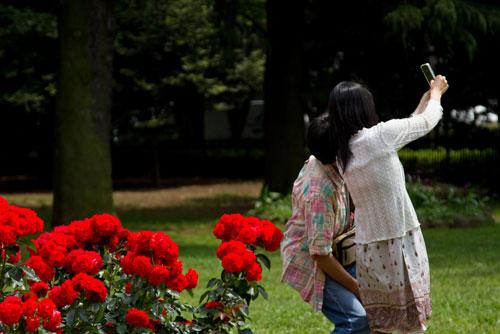 バラの前で自撮りするカップル_ようこそ交際クラブ(デートクラブ)